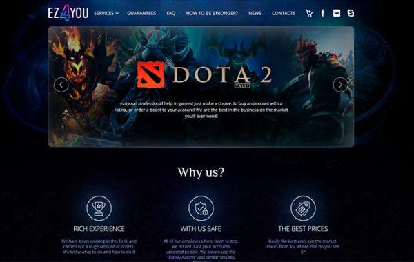 Сайт по игровым услугам в WoW, Dota2, HearthStone